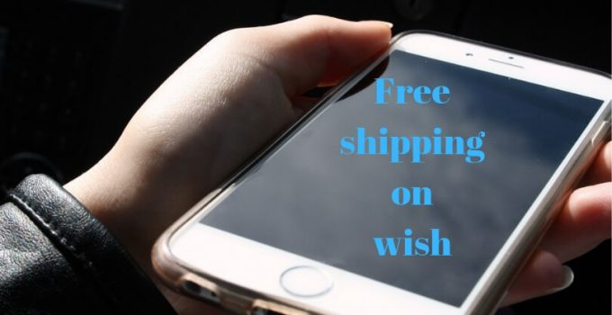 Young girl holding an iphone in her hand with text on the scree: Free shipping on wish. The text is blue letters on black screen