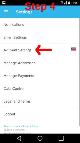 How To Apply Wish Promo Code Step 4, follow the red arrow and click on account settings to set your birthday