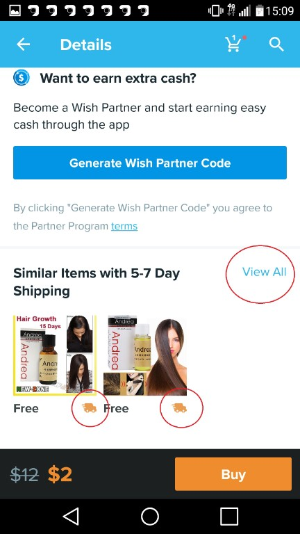 To get faster delivery of your product from wish you can either choose the recomended ones or click on the button to view all. Which will show you all products in yoru searched category wish express shipping.