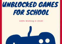 Square image with red edges, but birght blue sign unblocked games for school, which are working in 2019. With huge white nad blue gamepad underneath