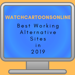 Simple drawing of computer monitor with text watchcartoononline best working alternative sites in 2019. The computer screen is blue, which looks fantasticly with the orange background of the image.