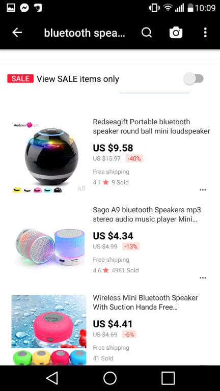 On this redseagift portable speaker which looks like futuristic round ball. We can clearly see that aliexpress vs wish will definetly win a wish. Not on first look, because it looks that on ali the speaker cost only 58 cents mroe than on the other apk, but on the otehr app we have to pay 3$ shipping. You could come to conclusion that aliapp is better for ordering for better price, but on the other app we can sue coupons and actually get it for 3.58$ cheaper!