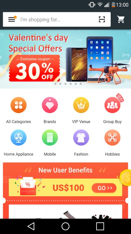 Screenshot of banggood main page of the app, which is one of the top 6 apps like wish. You can see with in the screenshot that they are currently having 30% off valentine's day special offer.