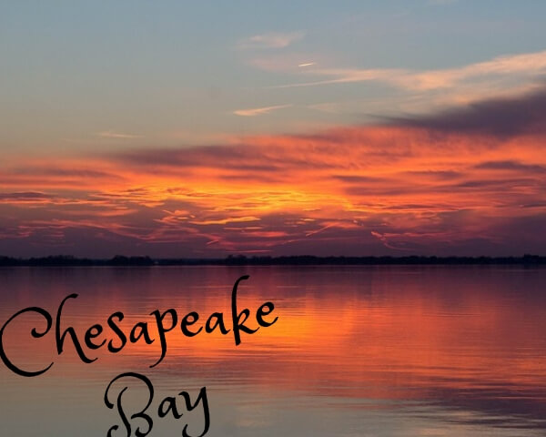 Photo taken probably 500 meters away from the bridge under water at chesapeake bay during beautiful sunset.