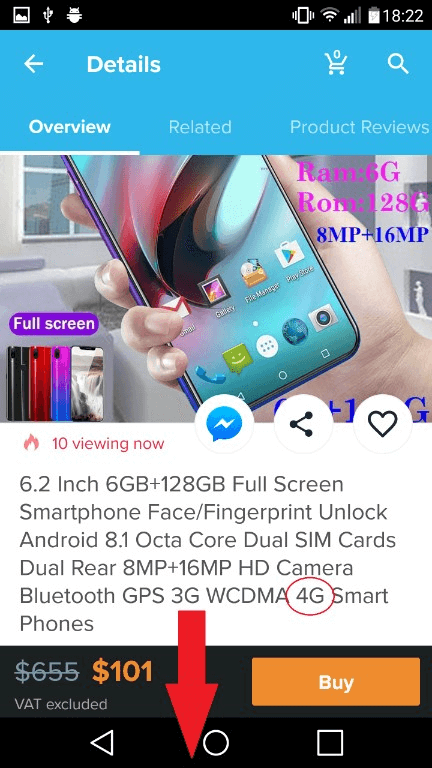 After we have choosen the desired product, we arrived on this details page, where we can see the description and photos of the smartphone we have searched for in the wish application