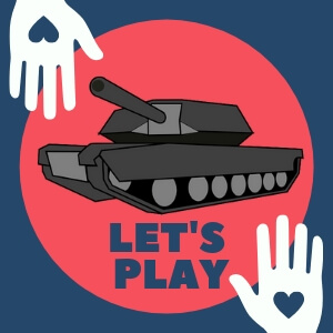 On this picture you can see dark blue background with red circle in the middle. Where is displayed icon of tank trouble unblocked. At the corners of this picture are hands, which are associated with multiplayer part of this online game.