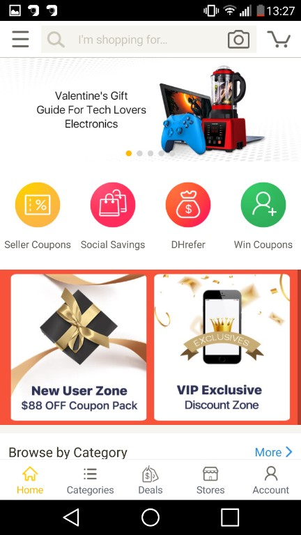 Screenshot of homepage screen of DHgate application, which is quite similar to wish app. But the application itself is more like aliexpress.