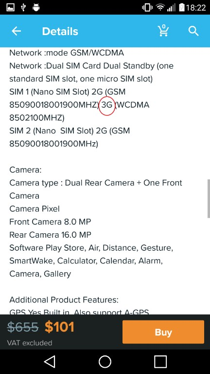Details of description on the product on the wish app and now we can find out if is the wish app legit or not, for this product the seller is a scam artist, because this is only 3g phone and not 4g smartphone as he is advertising in the main photo and in the title of the product.