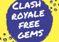 This is the current 2019 logo for clash royale free gems generator, 300 by 300 pixels with white, yellow and blue color.