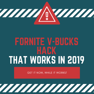 With in this 300 by 300 pixels image you can see warning sign about fortnite v-bucks hack. This photo is compiled from three main colors, white, blue and red.