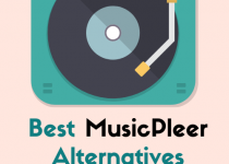 On this photo you can see device for playing music with text underneatch MusicPleer
