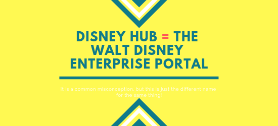This phoot is explaining to each visitor that the disney hub and the walt disney enterprise portal are the same thing. That only some people use the different name for the same thing.