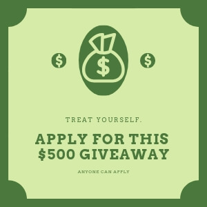 Another creative for frivo's giveaway. Green 300x300 picture, with three money symbols a nd text that you need to treat yourself. And you can apply for this 500$ giveaway and that anyone can apply.