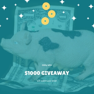 Ever since wleks started giving away $1000. A lot of memes started become very popular around this topic. On this picture you can see a pig, which is a standing on dollar bills and small coins are floting around him, with logo $1000 giveaway.
