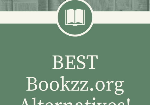 "Simple 500 by 500 png logo which has text""best bookzz.org alternatives!"". With white and green background and logo and even photo of several books before the text."