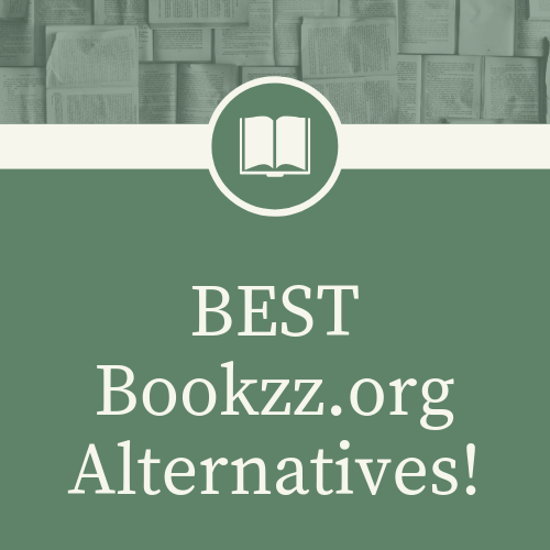 """Simple 500 by 500 png logo which has text""""best bookzz.org alternatives!"""". With white and green background and logo and even photo of several books before the text."""
