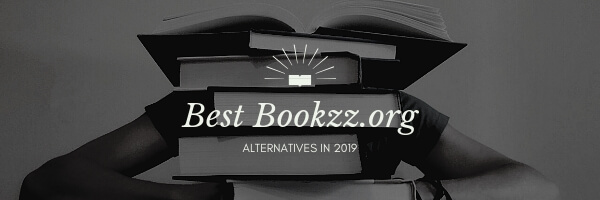 "On the photo is student covered in books, over this photo is text ""bet bookzz.org alternative in 2019"". The photo itself is black and white photo and above the tet is bright white logo of opened book."