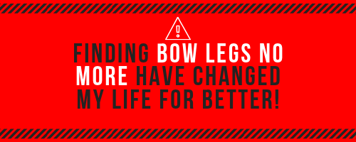 "This photo contains the text ""finding bow legs no more has changed my life for better"". Rest of the photo has a red background to emphasize the point of the picture. Also contains a warning sign, to bring more awareness to this ebook."