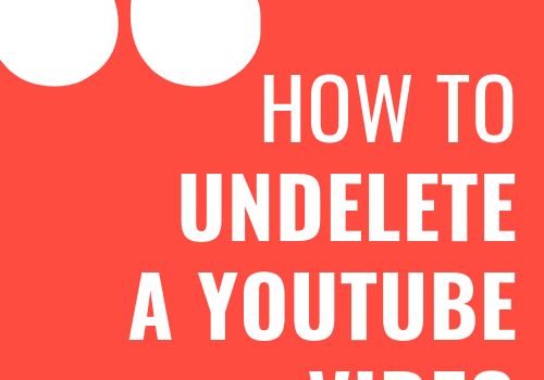 """How to undelete a youtube video is written in bright white color in this 500 x 500 px png image. With two """" again in white color and big font, possibly bold. All of this on reg background."""