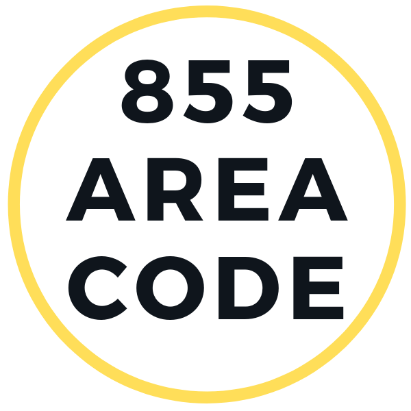 855 area code is the main text of this 600 by 600 pixels of this thumbnail aka featured image for the article, which is focused on the same topic as the text of this image. The text is in dark black, surrounded by the yellow circle around the text and with white background, these two colors should remind people the good old yellow pages aka that this is phone number related article.
