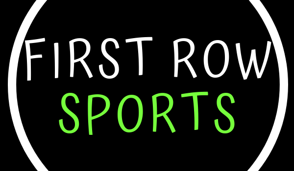 This image consists of text firstrowsports in white and green color. Rest of the image is an only black background and a white circle around the text. The color pattern is the same as the website; the article is about.