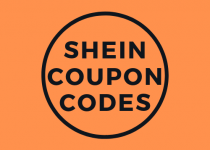 "On this 500 by 500 png image, you can see a bright orange background and black circle. In the black circle is text ""shein coupon codes."" This image is styled in most used colors on shein.com to remind each reader what this article and photo are about."