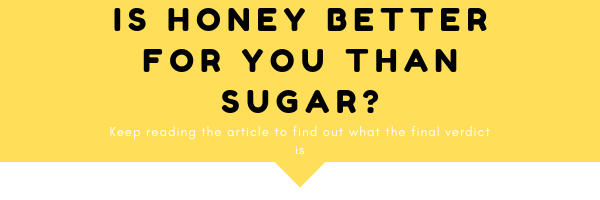 Is honey better for you than sugar? Keep reading the article to find out what the final verdict is. All of this is the text of this image, which consists of yellow and white background and white and black text.
