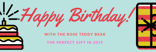 Wish happy birthday with the perfect gift; the rose teddy bear. This is an excellent gift in 2019. So far everyone who received it from me was super happy about it.