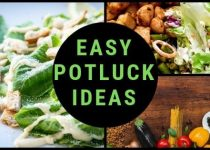 "This image is consisting of three different dishes and in the middle is a big black circle, in which is text ""easy potluck ideas"" which is 560 x 315 featured imaged for this article about best tips for dinner parties"