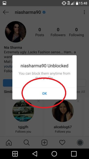 Last step of how to unblock someone on instagram, just tap on OK to confirm and that account will be unblocked