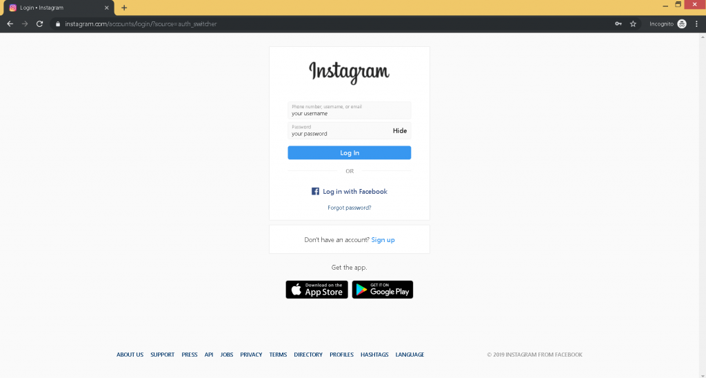 How to Post on Instagram from PC step 3, please fill in your login details and actually log in to your account.