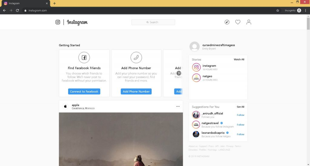 How to Post on Instagram from PC step 4. You should be in your account, now press ctrl + shift +j