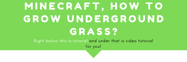minecraft how to grow underground grass was secret for the longest. But I finally know how to do it, so I can teach you that! Right below this image there is an tutoria land right below that there is a video tutorial on how to do such thing in minecraft