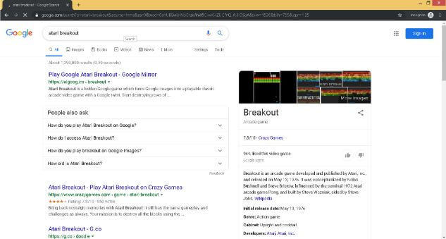 Play Atari Breakout on Google images Step 2. Now in this step you need to google the name of the game, as you can see in the search bar.