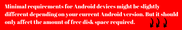 Minimal requirements for Android devices might be slightly different depending on your current Android version. But it should only affect the amount of free disk space required.